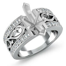 Natural Diamond Wedding Filigree Ring Platinum 950 0.55 Ct Marquise Semi Mount