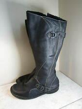 Clarks Black Leather Knee High Top Stitched Buckle Trim Boots Women's 10 M