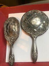 Antique mirror and brush set