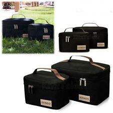 Insulated Lunch Box Bento Cooler Bag Food Container Set of 2 Size Black Travel