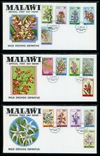 Malawi Scott #327-341 FIRST DAY COVERS (3) Orchids Flowers FLORA $$