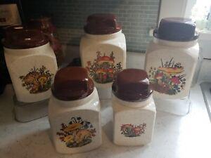 Vintage Mushroom and Daisy Ceramic Canister Set of 5! Retro!