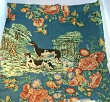 Rare Whippet 'Whippets' Teal Fabric Floral Background Jp+Jay Baker Ltd. England