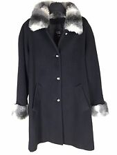 Dennis Basso Coat Small Womens Black Wool Cashmere Faux Fur Collar Cuffs Lined