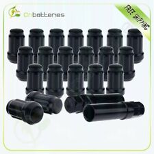 "20x6 Spline Wheel Lug Nuts 1/2"" x20 Black For Mercury Mountaineer Base w/2 keys"