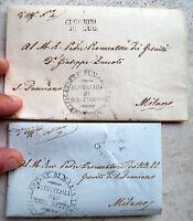 1856 81) LOTTO PREFILATELICHE DA 'ROBECCHETTO' A MILANO ANNULLO 'CUGGIONO' RARE