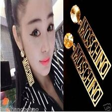 1Pair Gold Oversized Long Letter Large Big Earrings Paparazzi Celebs Style Punk