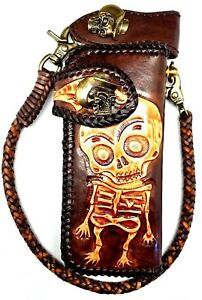 Biker Chain Wallet motorcycle trucker Creepy Skull tooled engraved Leather