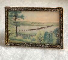 Vintage Miniature Painting On Silk JR Pullar Original Art Scenery 1950 Small Old