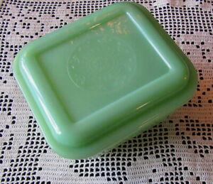 Vintage Fire-King Philbe Jadeite Green Glass Refrigerator Dish W/ Lid