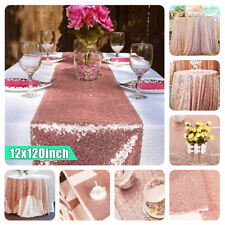 12''x120'' Sparkly Rose Gold Sequin Table Cloth Runner Party Wedding Birthday