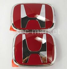 2pcs JDM Honda Front Rear Red H Emblem 2008-2017 Accord Sedan