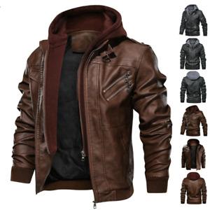 Mens Bomber Motorcycle PU Leather Coats Biker Windbreaker Hooded Casual Jackets