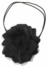 Zest Double Strand Headband with Large Flower Hair Accessory Black