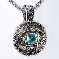 18KGP Designer Aquamarine Cubic Zirconia CZ Crystal Silver Gold Pendant Necklace