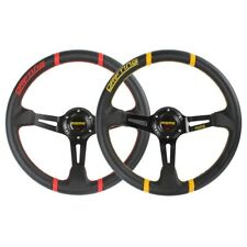 MOMO 350mm 4 inch dish YELLOW RED deep dish steering wheel racing sports PVC