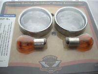 Harley Davidson Blinker Glas Blinkergläser klar mit Zierringen Hinten 69755-04
