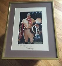 Ronald Reagan Signed Large Photo Frame Cowboy Inscribed Mat President