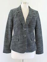 NWT Banana Republic Black White Tweed Knit Academy Blazer Suit Jacket Size 6