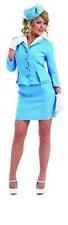 Womens Blue Cabin Crew Costume Ladies Stewardess Air Hostess Fancy Dress S - XXL