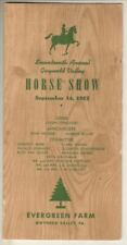 Gwynedd Valley  (Pennsylvania)  1952   Horse Show   Program   Evergreen Farm
