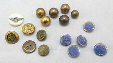 VINTAGE GOLD TONE MILITARY ETCHED METAL / STONE BUTTONS RARE VINTAGE  ****