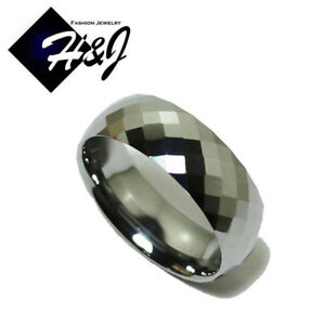 Tungsten Carbide 8mm Honeycomb Facet Wedding Band Ring Size 8-13