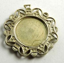 Antique Sterling Silver Round Pendant Base for Pearls Marcasite Enamel EST562