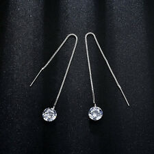 Fashion Woman White Gold Filled Crystal Stick Ear Thread Drop Stud Earrings