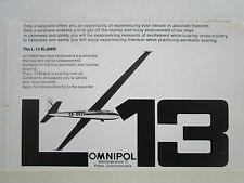6/1972 PUB OMNIPOL PLANEUR L-13 BLANIK PRAHA VOL A VOILE SOARING ORIGINAL AD