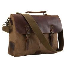 "Briefcase 15"" Laptop Shoulder Bag Tote Satchel Canvas Leather Business Meeting"