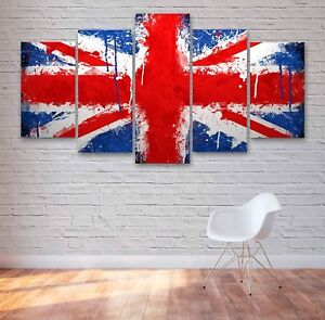 Union Jack Flag 5 Panel Canvas, Wall Art, Picture, Framed Canvas Print #183