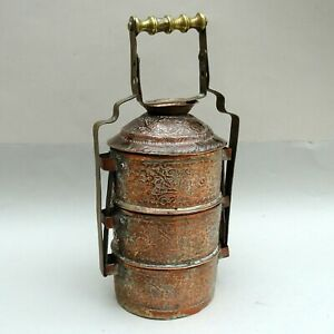 Vintage Indian Copper & Brass Tiffin Lunch Box ~ Hand Engraved & Chased Floral