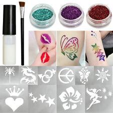 Temporary Body Art Shimmer Glitter Powder Tattoo Stencils Brushes Glue Kits Tool
