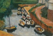 Wharf with Boats & Houses Oil Painting-1960s-Israel Louis Winarsky