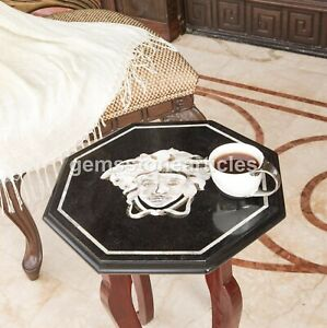 "Black Marble Versace Art Top Console Table Inlaid Precious Home Décor 15""x15"""