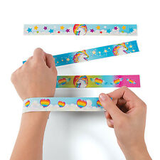 12 Unicorn Slap Bracelets MAGICAL DECOR FAIRYTALE Birthday Party Favors