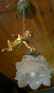 Vintage French Flying Cherub~Putti Spelter Ceiling Light~Flower Shade~