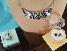 Zuni Turquoise, Coral, MOP, Onyx Necklace Earring Ring Set Sterling Signed Boone