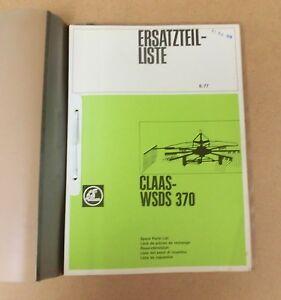 CLAAS WSDS 370 Kreiselschwader Ersatzteilliste 1977  Lagerexemplar