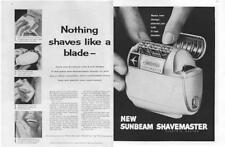 1960 Sunbeam PRINT AD Electric Shaver Great two page detailed vintage ad