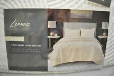 Lennox Luxury Velvet King Quilt Set Ivory 92 X 104 In