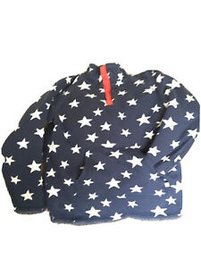 BOYS FRUGI REVERSIBLE SNUGGLE FLEECE blue with white stars age 6-7 years Exc con