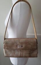 Yves Carreau Paris Roma Gold Beige Leather Shoulder Bag Medium Clutch Handbag