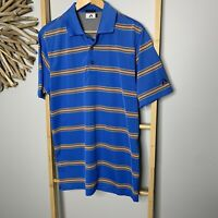 A-Game Size M - L Relaxed Fit Men's Polo Shirt Blue Striped Moisture Tech