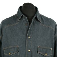 Vintage MUSTANG Denim Shirt | Retro Western Cowboy Snap Popper Cotton Jean