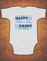 Personalised Happy 1st First Fathers Father's Day Baby Kids Body Suit Vest Boys