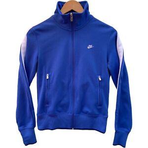 Nike Sportswear Women's Jacket Medium Blue Track Zip up Stripe Embroidered Logo