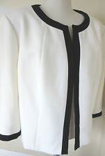 TAHARI ARTHUR LEVINE WOMAN White & Black Trim Blazer Suit Jacket Plus 24W NWT