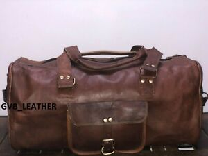 Men's Leather Duffel Air cabin Broad Surface Luggage Holdall Weekend Travel Bag